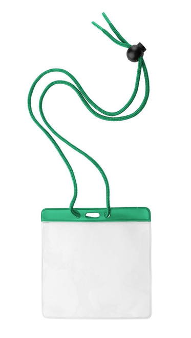 "Vinyl Horizontal Holder with Green Color Bar and Neck Cord, 4.38"" x 3.75"" (100/pk)"