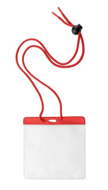 "Vinyl Horizontal Holder with Red Color Bar and Neck Cord, 4.38"" x 3.75"" (100/pk)"