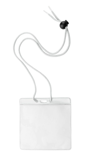 "Vinyl Horizontal Holder with White Color Bar and Neck Cord, 4.38"" x 3.75"" (100/pk)"