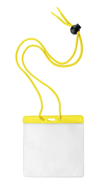 "Vinyl Horizontal Holder with Yellow Color Bar and Neck Cord, 4.38"" x 3.75"" (100/pk)"