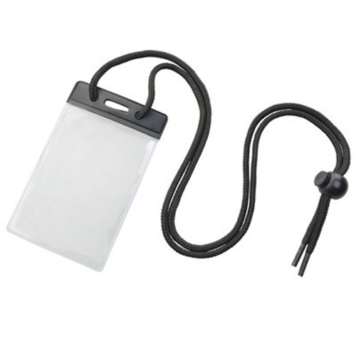 Vinyl Vertical Holder with Black Color Bar and Neck Cord (100/pk)
