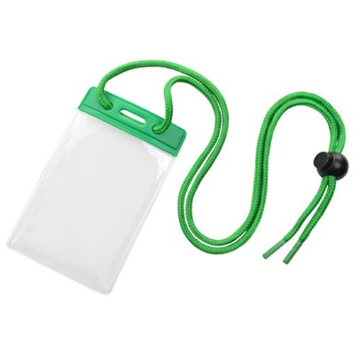 Vinyl Vertical Holder with Green Color Bar and Neck Cord (100/pk)