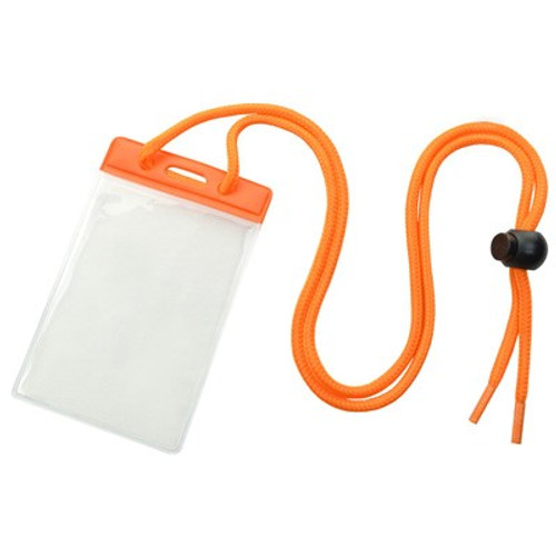 Vinyl Vertical Holder with Orange Color Bar and Neck Cord (100/pk)