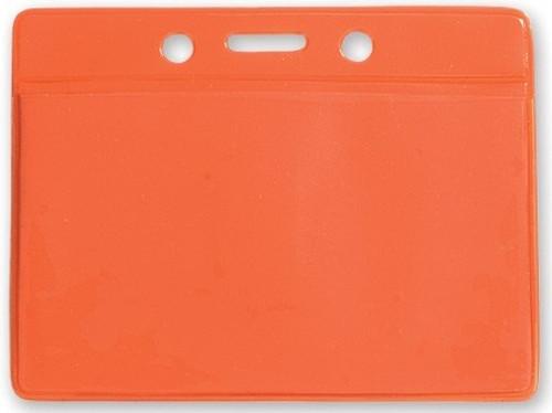 "Clear Vinyl Horizontal Badge Holder with Orange Color Back, 3.5"" x 2.13"" (100/pk)"