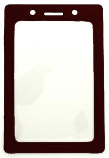 """Clear Vinyl Vertical Badge Holder with Black Color Frame, 2.25"""" x 3.44"""" (100/pk)"""
