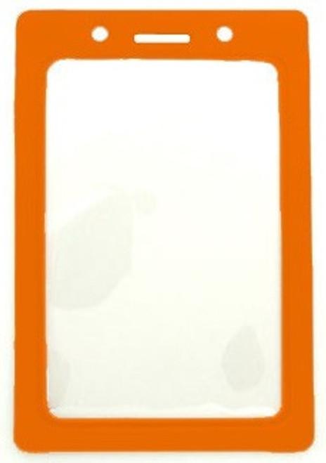 """Clear Vinyl Vertical Badge Holder with Orange Color Frame, 2.25"""" x 3.44"""" (100/pk)"""