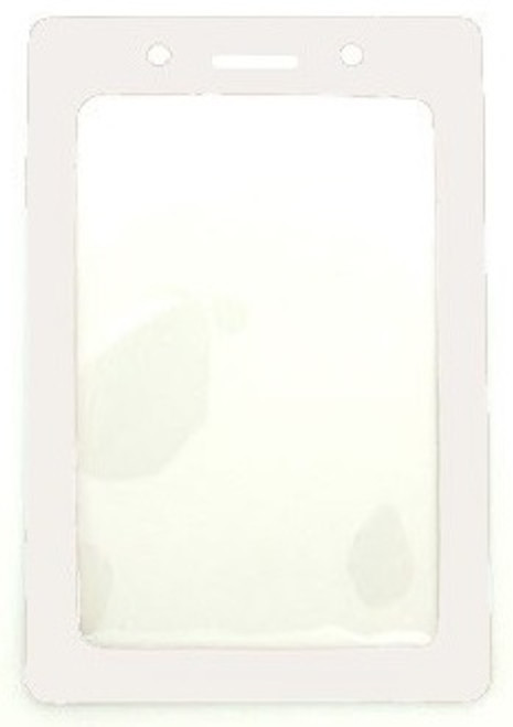 "Clear Vinyl Vertical Badge Holder with White Color Frame, 2.25"" x 3.44"" (100/pk)"