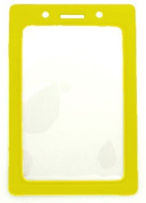 "Clear Vinyl Vertical Badge Holder with Yellow Color Frame, 2.25"" x 3.44"" (100/pk)"