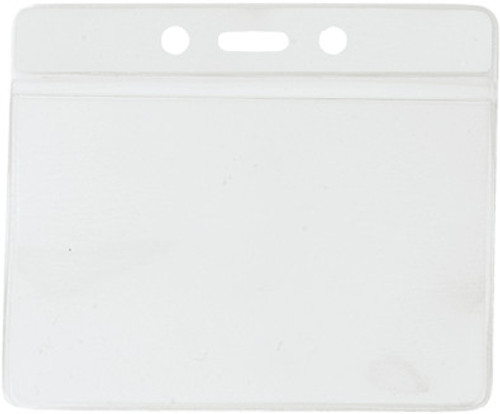 """Clear Vinyl Horizontal Badge Holder with Clear Color Bar, 3.85"""" x 2.68"""" (100/pk)"""