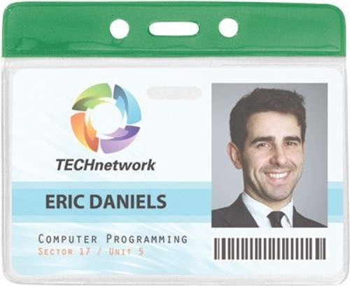 """Clear Vinyl Horizontal Badge Holder with Green Color Bar, 3.85"""" x 2.68"""" (100/pk)"""