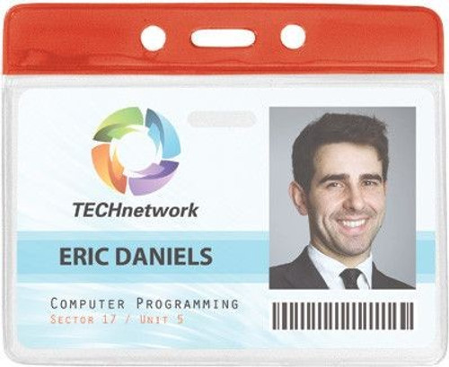 """Clear Vinyl Horizontal Badge Holder with Red Color Bar, 3.85"""" x 2.68"""" (100/pk)"""