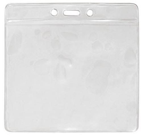 "Clear Vinyl Horizontal Badge Holder with Clear Color Bar, 4.38"" x 3.63"" (100/pk)"