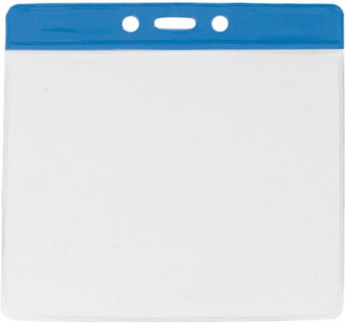 "Clear Vinyl Horizontal Badge Holder with Blue Color Bar, 4.38"" x 3.63"" (100/pk)"