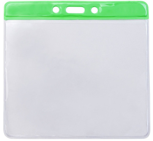 """Clear Vinyl Horizontal Badge Holder with Green Color Bar, 4.38"""" x 3.63"""" (100/pk)"""