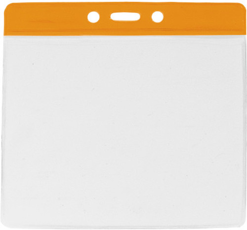 "Clear Vinyl Horizontal Badge Holder with Orange Color Bar, 4.38"" x 3.63"" (100/pk)"