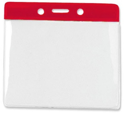 """Clear Vinyl Horizontal Badge Holder with Red Color Bar, 4.38"""" x 3.63"""" (100/pk)"""