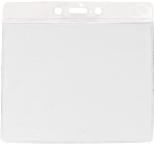 """Clear Vinyl Horizontal Badge Holder with White Color Bar, 4.38"""" x 3.63"""" (100/pk)"""