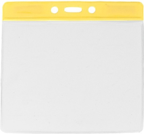 """Clear Vinyl Horizontal Badge Holder with Yellow Color Bar, 4.38"""" x 3.63"""" (100/pk)"""