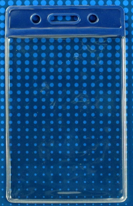 "Clear Vinyl Vertical Badge Holder with Blue Color Bar, 3.75"" x 2.63""(100/pk)"