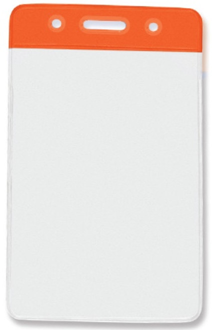 "Clear Vinyl Vertical Badge Holder with Orange Color Bar, 3.75"" x 2.63""(100/pk)"