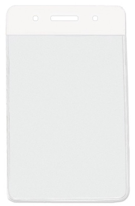 "Clear Vinyl Vertical Badge Holder with White Color Bar, 3.75"" x 2.63""(100/pk)"