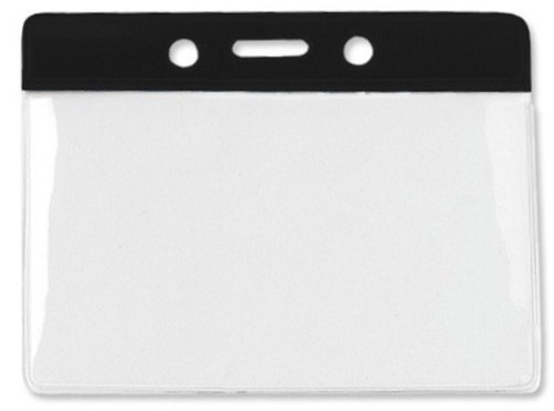 "Vinyl Horizontal Badge Holder with Black Color Bar, 3.75"" x 2.63"" (100/pk)"