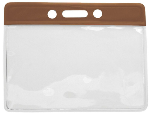 "Vinyl Horizontal Badge Holder with Brown Color Bar, 3.75"" x 2.63"" (1000/pk)"