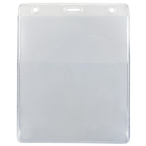 """Clear Vinyl Vertical Credential Wallet with Slot and Chain Holes, 3"""" x 4.25"""" (100/pk)"""