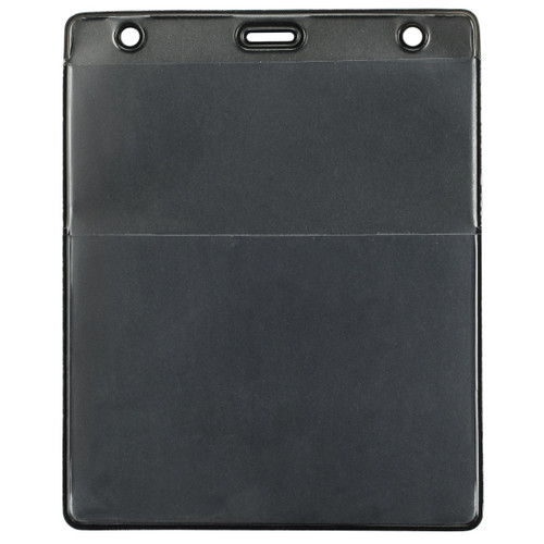 """Black Vinyl Vertical Credential Wallet with Slot and Chain Holes, 3"""" x 4.25"""" (100/pk)"""