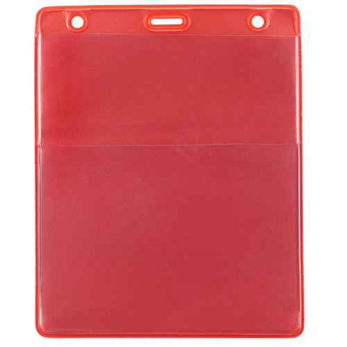 "Red Vinyl Vertical Credential Wallet with Slot and Chain Holes, 3"" x 4.25"" (100/pk)"