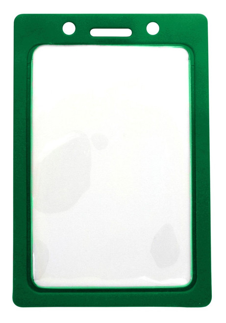 "CLEARANCE! Clear Vinyl Vertical Badge Holder with Green Color Frame, 2.25"" x 3.44"" (100/pk)"