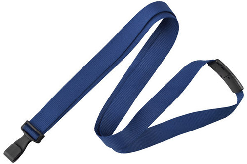 "Navy Blue 5/8"" (16 mm) Lanyard with Breakaway & ""No-Twist"" Wide Plastic Hook (100/pk)"