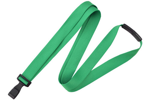 "Green 5/8"" (16 mm) Lanyard with Breakaway & ""No-Twist"" Wide Plastic Hook (100/pk)"