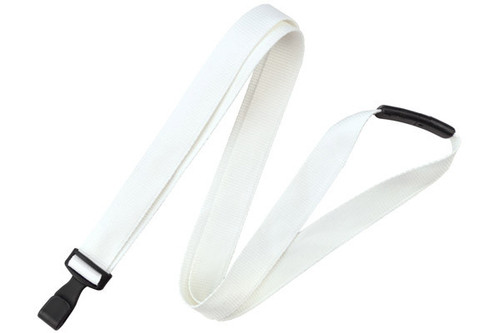 "White 5/8"" (16 mm) Lanyard with Breakaway & ""No-Twist"" Wide Plastic Hook (100/pk)"