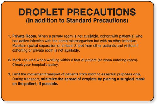 59701471 - DROPLET PRECAUTION LABEL