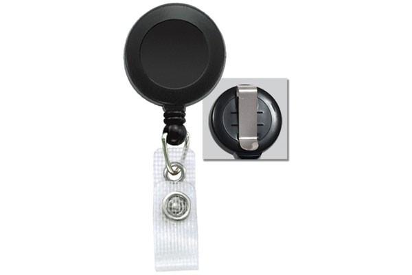Black Badge Reel with Reinforced Vinyl Strap & Belt Clip (25/pk)