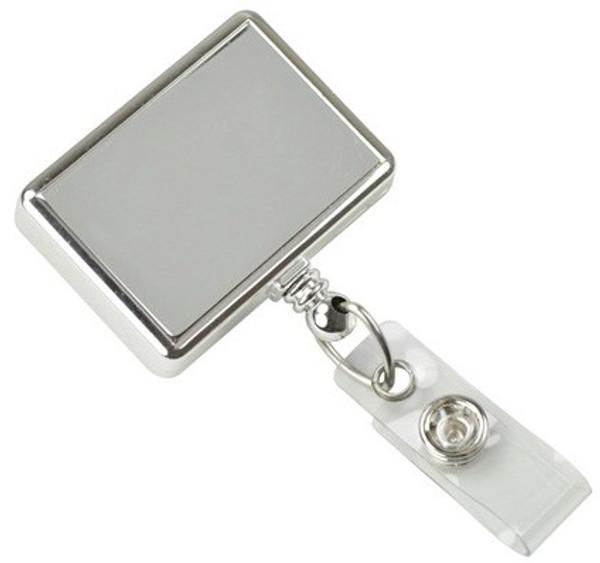 Chrome Rectangle Badge Reel with Vinyl Strap (25/pk)