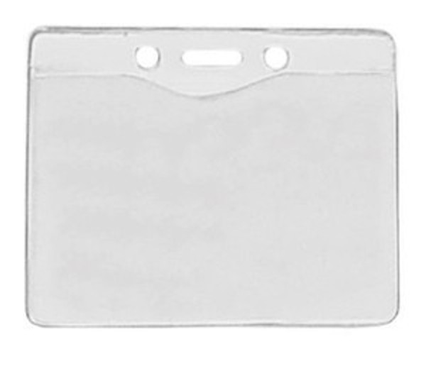 "1815-1000 Clear Vinyl Horizontal Badge Holder with Slot and Chain Holes, 3.3"" x 2.5"" (100/pk)"