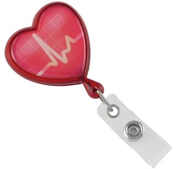 Translucent Red EKG Themed Heart Shaped Reel (25/pk)