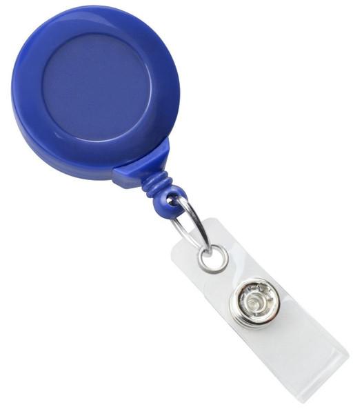 Royal Blue Badge Reel with Clear Vinyl Strap & Swivel Spring Clip (25/pk)