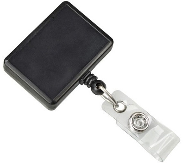 Black Rectangle Badge Reel with Vinyl Strap (25/pk)