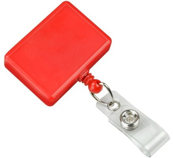 Red Rectangle Badge Reel with Vinyl Strap (25/pk)