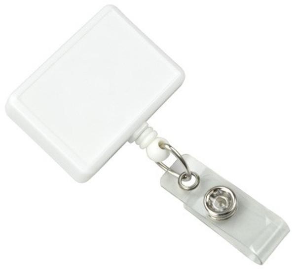 White Rectangle Badge Reel with Vinyl Strap (25/pk)