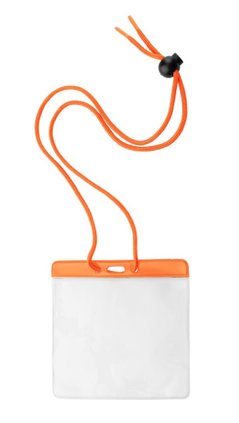 "Vinyl Horizontal Holder with Orange Color Bar and Neck Cord, 4.38"" x 3.75"" (100/pk)"