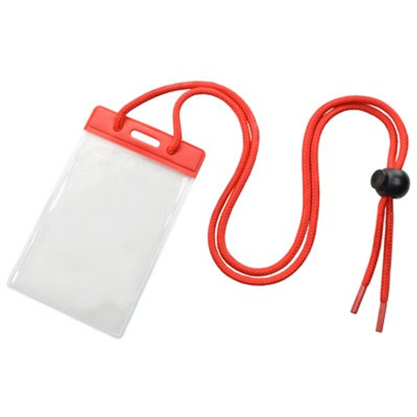 Vinyl Vertical Holder with Red Color Bar and Neck Cord (100/pk)