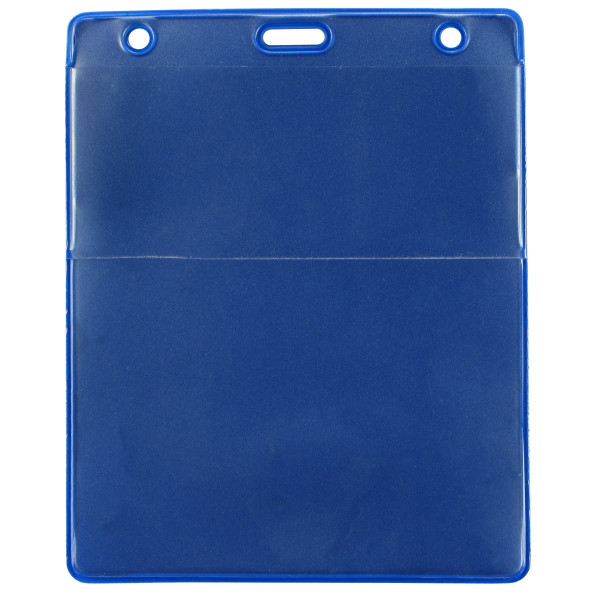 """Royal Blue Vinyl Vertical Credential Wallet with Slot and Chain Holes, 3"""" x 4.25"""" (100/pk)"""