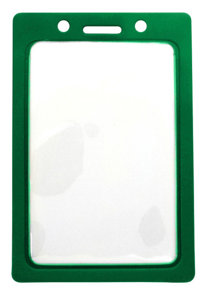 """CLEARANCE! Clear Vinyl Vertical Badge Holder with Green Color Frame, 2.25"""" x 3.44"""" (100/pk)"""