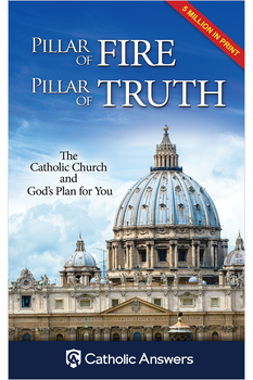 Looking for the perfect tool to help you evangelize non-Catholics?  Pillar of Fire, Pillar of Truth is a powerful, yet concise booklet that clearly defines the core beliefs of the Catholic faith!  Each topic is easy to read and easy to understand. And everything is cross-referenced to the Catechism of the Catholic Church and supported by Sacred Scripture.  At 32 pages, Pillar of Fire, Pillar of Truth is packed with information about the Catholic Church and God's plan for us. Plus, its convenient size and special pricing make it perfect to carry with you and give to others as you share your faith with them.