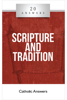"""A Twinfold Source of Truth  In what forms does the word of God come to us?  How do we know that the Bible is inspired, inerrant, and complete?  Did the Catholic Church add extra books and """"traditions of men"""" to God's revelation in Scripture?  In 20 Answers: Scripture and Tradition you'll find smart, solid answers to these questions and many more. 20 Answers: Scripture and Tradition examines the first and most important issue in the Christian faith: the manner in which God has communicated to us the saving truths of the gospel.  Only with a confident understanding of authority—sure knowledge of what is revealed truth and what isn't—can we be certain that we are truly following Christ.  The 20 Answers series from Catholic Answers offers hard facts, compelling arguments, and clear explanations of the most important topics facing the Church and the world—all in a compact, easy-to-read package."""