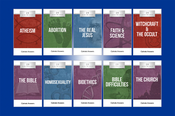 We've put together a very special Student Bundle of 20 Answers Booklets that will give your student answers to the questions they are most likely to face as they head back to school.  Titles Include:      20 Answers: Atheism     20 Answers: Abortion     20 Answers: The Real Jesus     20 Answers: Faith & Science     20 Answers: The Bible     20 Answers: Witchcraft & the Occult     20 Answers: The Church     20 Answers: Homosexuality     20 Answers: Bible Difficulties     20 Answers: Bioethics  The 20 Answers series from Catholic Answers offers hard facts, compelling arguments, and clear explanations of the most important topics facing the Church and the world—all in a compact, easy-to-read package.